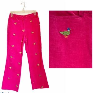 Lilly Pulitzer Embroidered Duck Pink Corduroy Pant